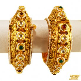 22K Gold Designer Antique Kadas  ( 22K Antique Bangles )