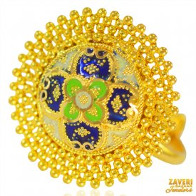 22Kt Gold Fancy Meenakari Ring
