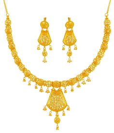 22K Gold Traditional Necklace Set ( 22K Gold Necklace Sets )