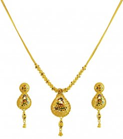 22k Fancy Indian Necklace Set ( 22K Light Necklace Sets )