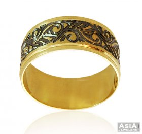 18K Two tone Wide Band ( Gold Wedding Bands )
