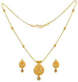 22K Gold Necklace Earring Set