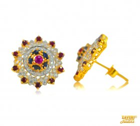Gold Earrings with Gemstones ( Gemstone Earrings )