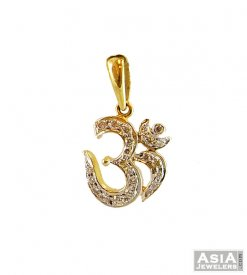 14K Diamond Studded Om Pendant