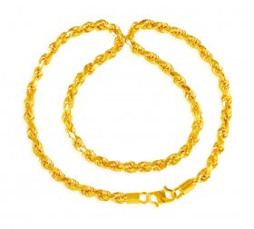 22 Karat Gold Rope Chain 22 In ( Mens Gold Chain )