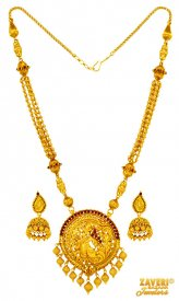 22 Karat Gold Temple Set ( 22K Antique Necklace Sets )