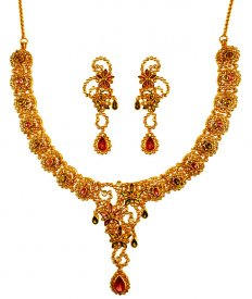 22K Gold Diamond Polki Necklace Set ( Diamond Necklace Sets )