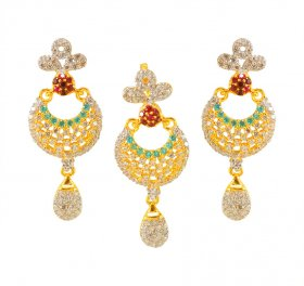 22Kt Gold Pendant And Earring Set ( Gold Fancy Pendant Sets )
