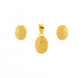22K Delicate Signity Pendant Set  ( Gold Fancy Pendant Sets )