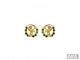22K Emerald and Pearl Earrings