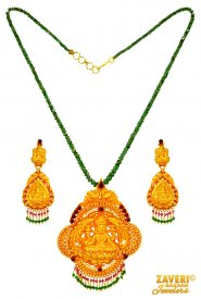Gold Temple Necklace Set ( 22K Antique Necklace Sets )
