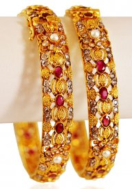 22K Gold Ruby Stones Bangles (2PC)