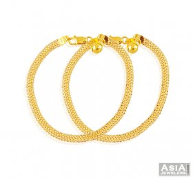 22K Two Tone Plain Baby Anklets