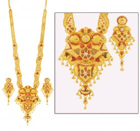 Three Tone 22K Long Necklace Set ( 22K Necklace Sets (Long) )
