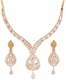 2 Tone Fancy Diamond Studded Set  ( Diamond Necklace Sets )