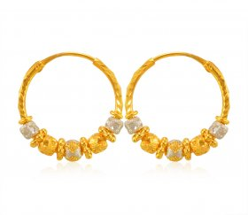22karat Gold TwoTone Earrings ( 22K Gold Hoops )