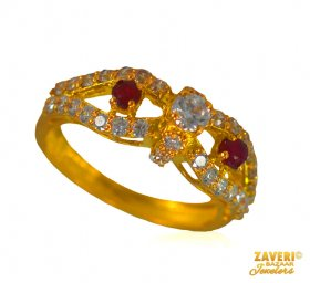 22 kt Gold ring with Colored CZ ( Stone Rings )