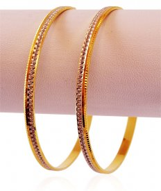 22k Rhodium Gold Bangles Set (2 PC)