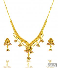 Fancy Meenakari Gold Set ( 22K Light Necklace Sets )