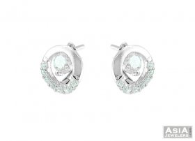 18K Beautiful Clipon Earrings ( White Gold Earrings )