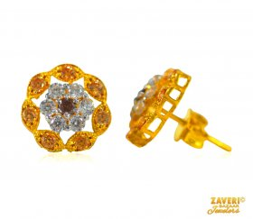 Earrings with CZ stone (22 Kt Gold)