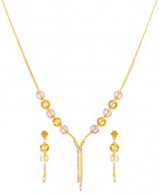 22K Two Tone Fancy Necklace Set ( 22K Light Necklace Sets )