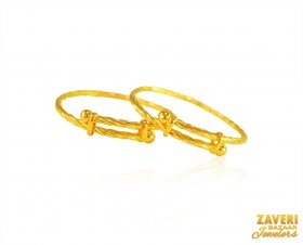 22Kt Gold Kids Kada (2PC) ( Baby Bangles )