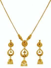 Meenakari Gold Necklace Earring Set ( 22K Light Necklace Sets )