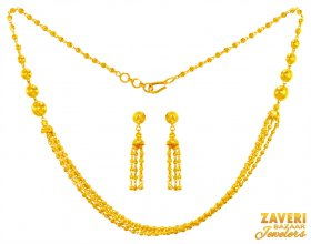22KT Gold Layered Necklace Set ( 22K Light Necklace Sets )