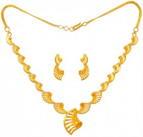22kt Gold Necklace Set for Ladies ( 22K Light Necklace Sets )