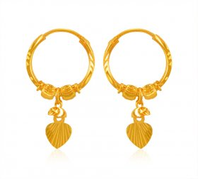 22 Kt Gold Hoop Earrings ( 22K Gold Hoops )