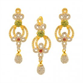 22K Gold Fancy Pendant Set ( Gold Fancy Pendant Sets )