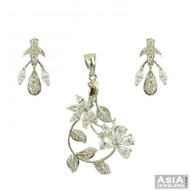 Fancy White Gold Pendant Set ( White Gold Pendant Sets )