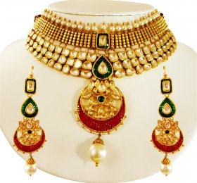 22 Karat Gold Antique Kundan Set ( 22K Antique Necklace Sets )