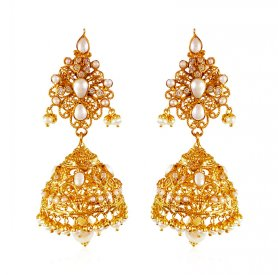 22KT Gold Pearl Jhumki Earrings ( Gemstone Earrings )