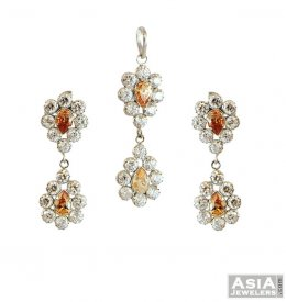Pendant And Earring Set With CZ ( White Gold Pendant Sets )