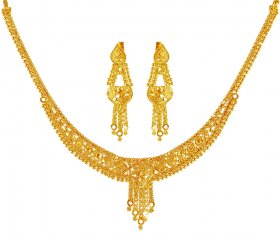 22Kt Gold Necklace Earring Set
