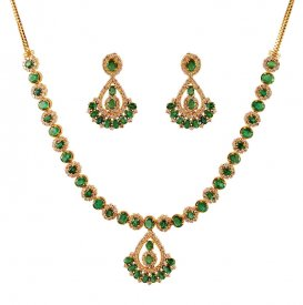 18k Diamonds And Emerald Set ( Diamond Necklace Sets )