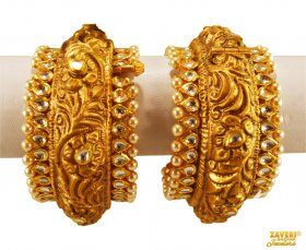 22K Gold Antique Kundan Kadas  ( 22K Antique Bangles )