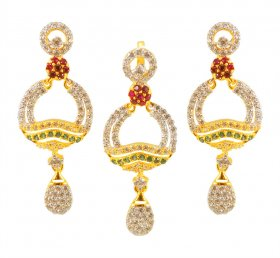 Gold pendant and earring set with color cz ( Gold Fancy Pendant Sets )