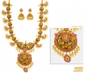 22 kt Traditional Necklace Set ( 22K Antique Necklace Sets )