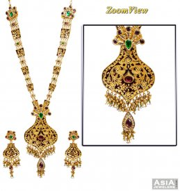 22K Designer Long Patta Bridal  Set