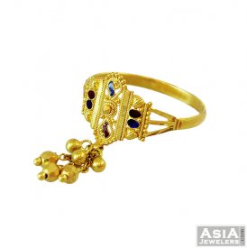 22K Meenakari with Dangling Ring ( 22K Gold Rings )