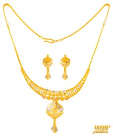 22 kt two tone Necklace Set ( 22K Light Necklace Sets )