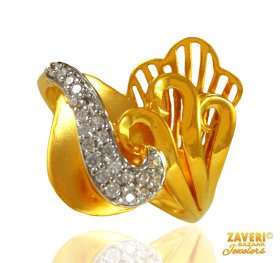 22 kt Gold Ring with CZ ( Stone Rings )