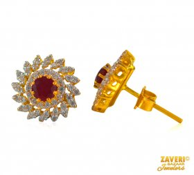 Gold Earrings with Ruby stone