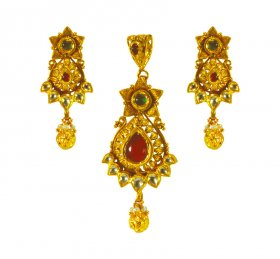 22K Gold Antique Pendant Set