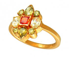 Gold Ring with Colored CZ ( Stone Rings )