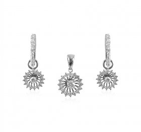 18KT White Gold Diamond Pendant Set ( Diamond Pendant Sets )