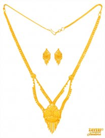 22 Kt Gold Necklace Earring Set